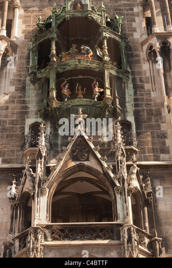Munich New Town Hall (Neues Rathaus) in the Marienplatz central square, a front view looking up. - Stock Image
