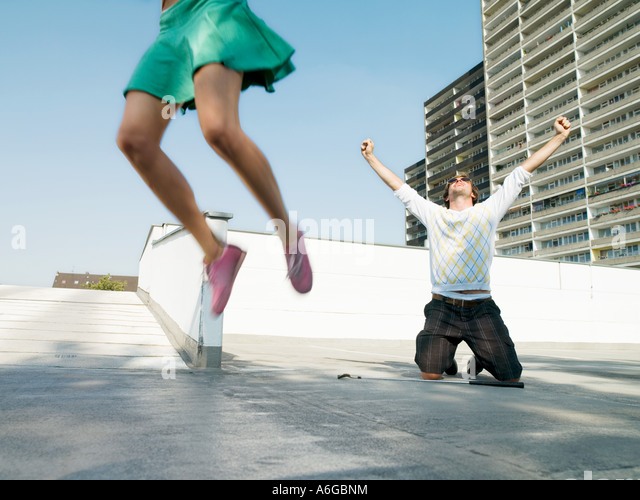 Joyful urban golfers - Stock Image