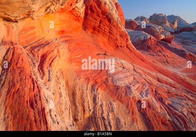 Sandstone swirls at 'White Pocket' in Vermilion Cliffs National Monument, Arizona - Stock-Bilder