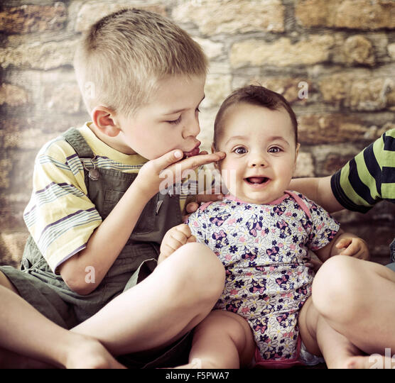 Portrait of the two cute children - Stock Image