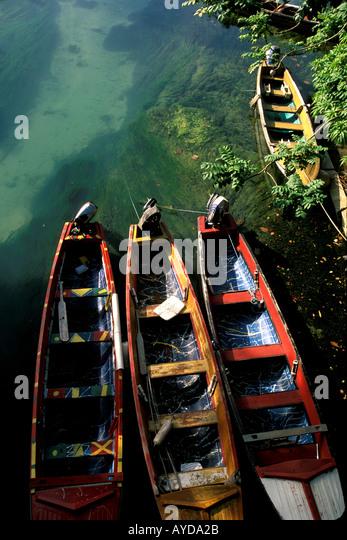 Caribbean Jamaica Ocho Rios fishing boats on White River - Stock Image