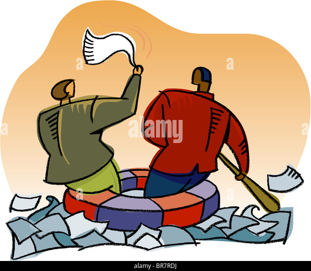 Business people stranded in a sea of paper - Stock Image