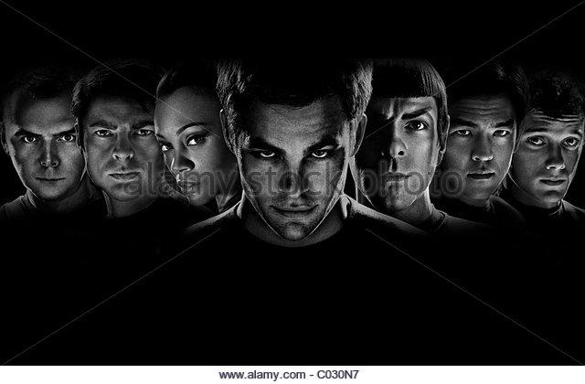 SIMON PEGG KARL URBAN ZOE SALDANA CHRIS PINE ZACHARY QUINTO JOHN CHO & ANTON YELCHIN STAR TREK (2009) - Stock Image