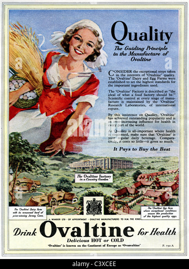 Advertisement for Ovaltine, from The Festival of Britain guide, published by HMSO. London, UK, 1951 - Stock-Bilder