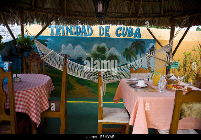 Breakfast setting at a Casa Particular (Bed & Breakfast) in Trinidad, Cuba - Stock Image