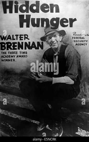 HIDDEN HUNGER, Walter Brennan, 1940s - Stock Image