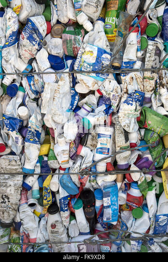 Plastic packaging for recycling Pressed - Stock Image