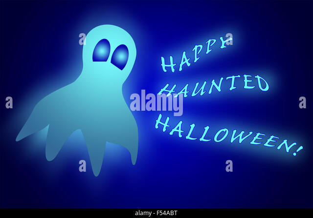 Glowing ghost with text Happy Haunted Halloween on dark blue gradient background - Stock Image