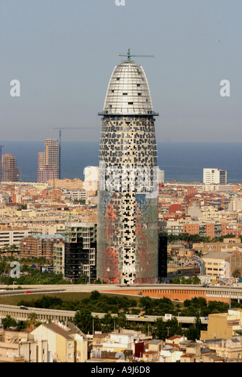 Bascelona Torre Agbar Modern architecture in Barcelona by archtect Jean Nouvel view from Sagrada Famlia skyline - Stock Image