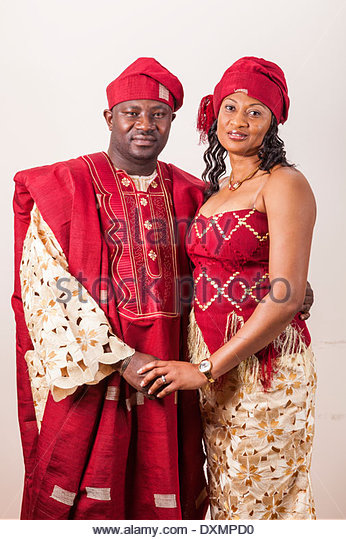African couple in traditional clothes,Accra,Ghana - Stock Image