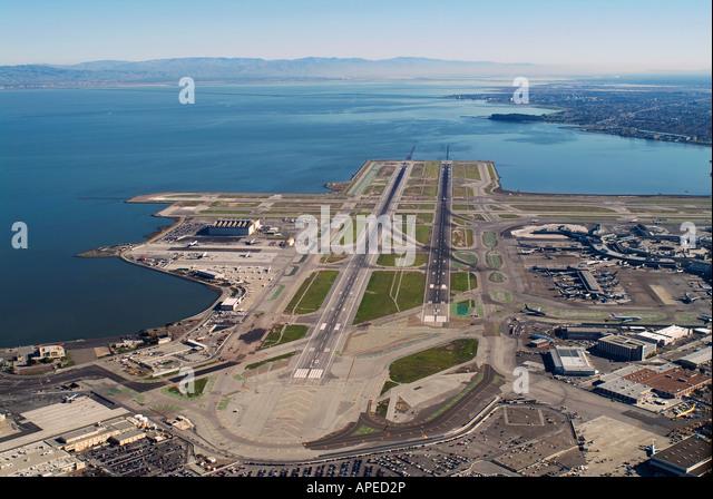 aerial above San Francisco International airport SFO - Stock Image