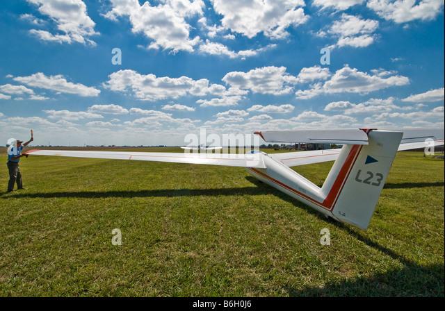 Blanik L-23 glider taking off, Greater Houston Soaring Association, Wallis, Texas. - Stock Image