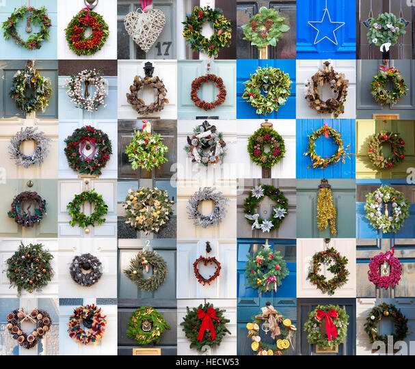 Bath, Somerset, England, UK. 20th December 2016. Front door seasonal wreaths from in and around the spa city as - Stock Image
