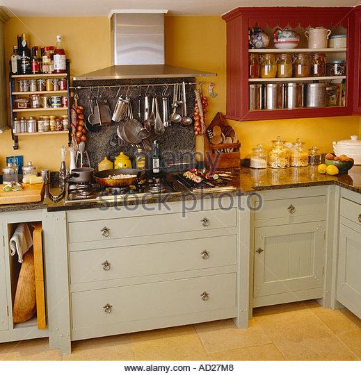 English Hob Kitchen ~ Shaker units stock photos images alamy