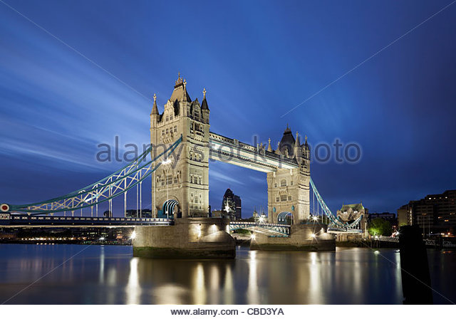 Tower Bridge in London lit up at night - Stock Image