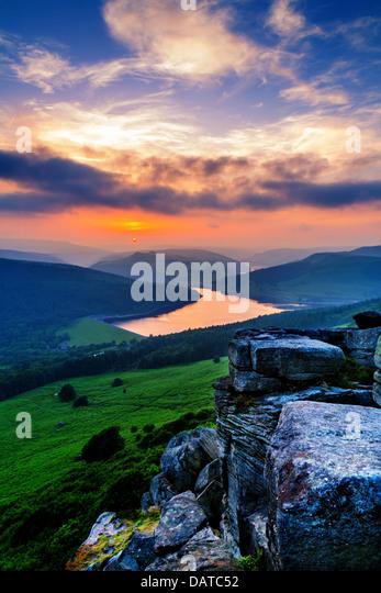 Sunset over Ladybower Reservoir from Bamford Edge - Stock Image