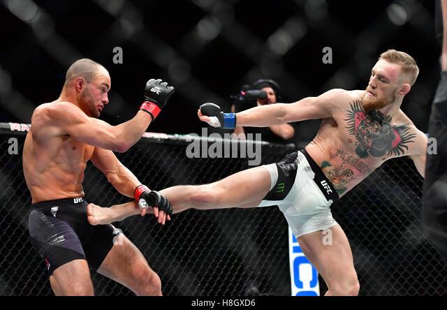 New York, USA. 12th November, 2016. Eddie Alvarez vs. Conor 'The Notorious' McGregor during  UFC 205 in - Stock-Bilder