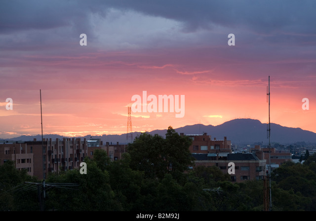 Sunset over Bogota Colombia - Stock Image
