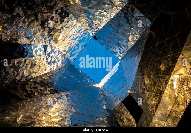 Forum Building by Jacques Herzog and Pierre de Meuron. Barcelona. Catalonia. Spain - Stock Image