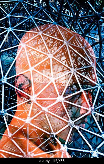 male head inside a grid, SF illustration - Stock Image