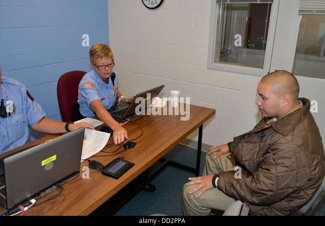 Disciplinary hearing for a juvenile inmate at the Nebraska Correctional Youth Facility in Omaha, Nebraska. - Stock Image