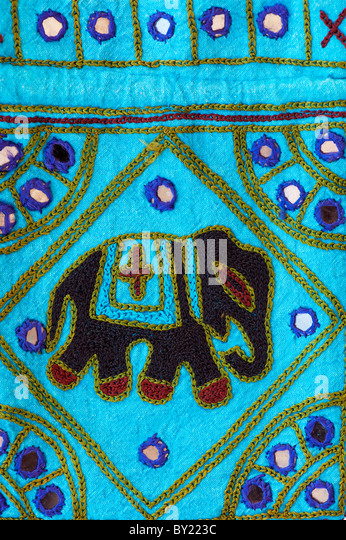 Indian handmade colourful fabric bag with elephant design - Stock-Bilder