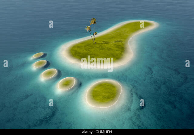 Green islands with white beaches  in the shape of a footprint surrounded by tropical blue ocean water. Conceptual - Stock Image