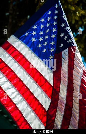 USA flag close up, takem in Mammoth Lakes. - Stock-Bilder