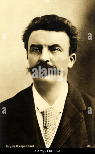 Guy de Maupassant portrait. French Writer, 1850-1893 - Stock-Bilder