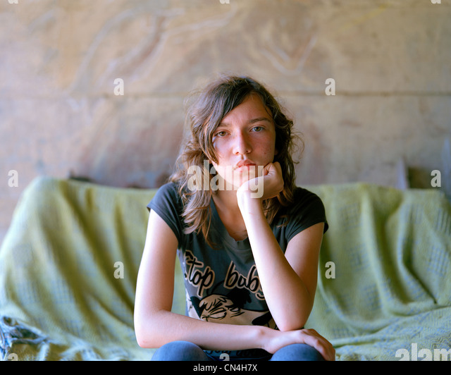Portrait of a teenager, Nowica, Poland - Stock Image