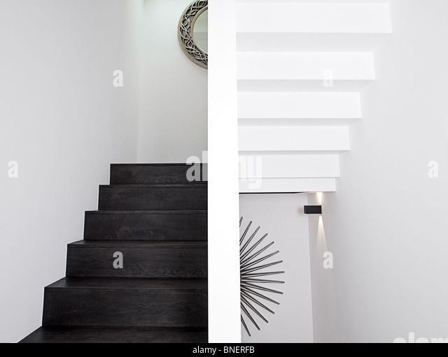 Minimalistic Shot of a Staircase - Up and Down - Stock Image