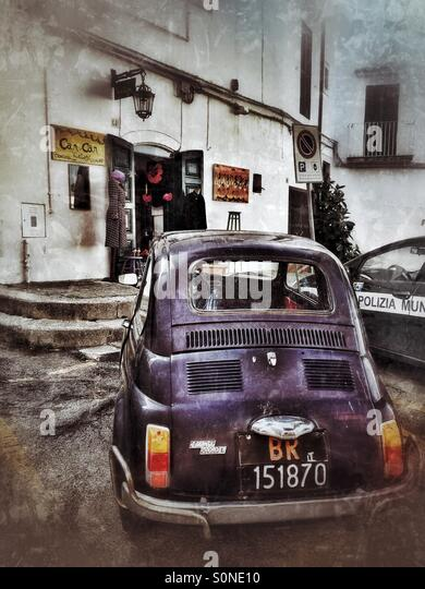 nostalgic fiat car in italy - Stock Image