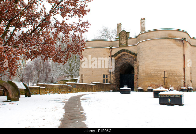 Snow at Nottingham Castle, Nottinghamshire England UK - Stock Image
