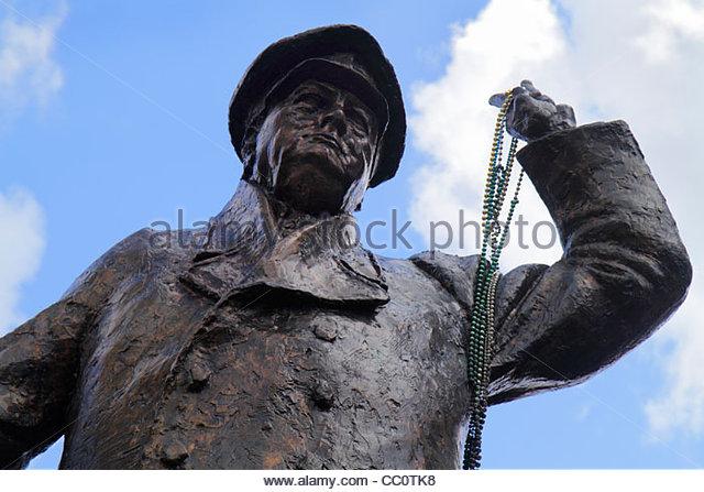 Louisiana New Orleans Poydras Street Winston Churchill statesman statue sculptor Ivor Roberts- Jones bronze honor - Stock Image