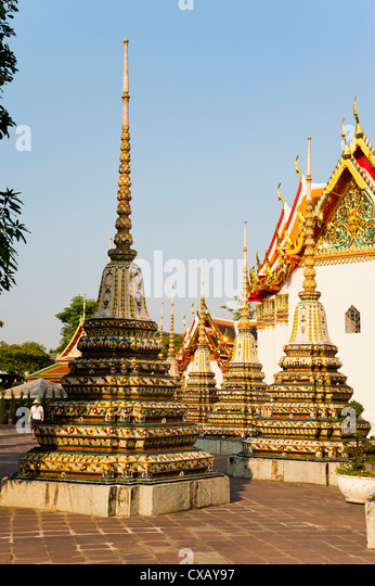 Colourful stupa at Temple of the Reclining Buddha (Wat Pho), Bangkok, Thailand, Southeast Asia, Asia - Stock Image