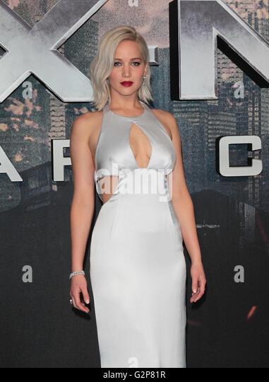 LONDON - MAY 9, 2016: Jennifer Lawrence attends the X-Men: Apocalypse - UK fan screening at the BFI IMAX - Stock Image