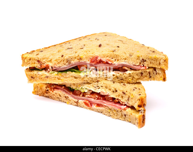 BLT - bacon, lettuce and tomato sandwich on white background - Stock Image