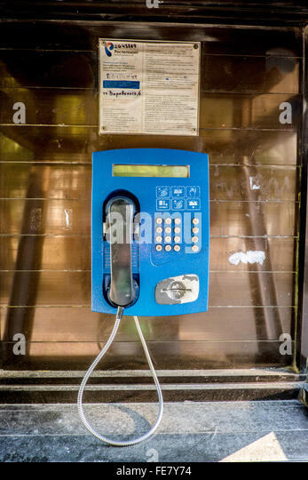 Public telephone in the City of Sochi, Russia - Stock Image