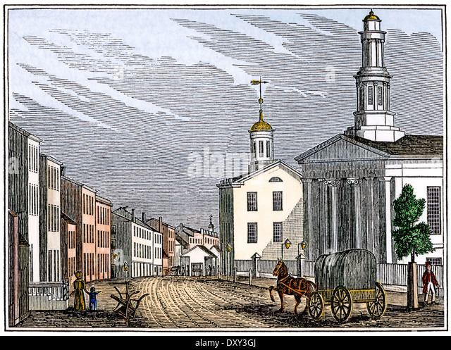 Street in central Trenton, New Jersey, 1840s. - Stock Image