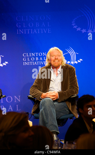 9/2010-New York-Richard Branson, speaking at the Clinton Global Initiative at Sheraton Hotel.Richard Branson was - Stock Image