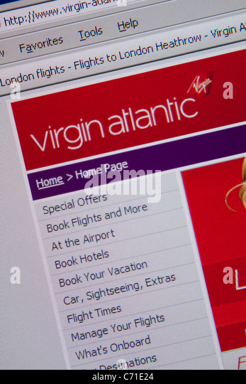 virgin atlantic online flight travel - Stock-Bilder