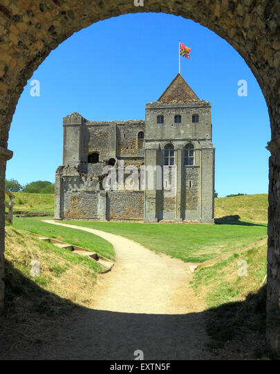 Castle Rising Castle through arch, 12th century Norman keep, Norfolk England UK English medieval castles - Stock Image