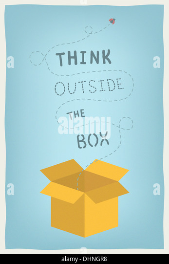 Modern illustration concept of motivation and positive thinking and creative mindset with hand drawn text think - Stock-Bilder