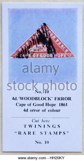 4d Woodblock error Cape of Good Hope 1861 - Twinings Tea Trade Card Issued in 1960 - Stock Image