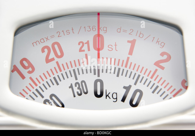 Close Up Of Bathroom Scales Dial - Stock Image