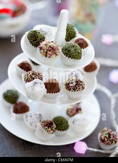 Assorted chocolate truffles - Stock Image