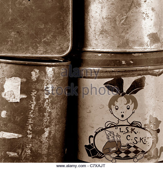 Old tin cans - Stock Image