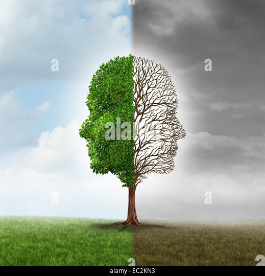 Human emotion and mood disorder as a tree shaped as two human faces with one half empty branches and the opposite - Stock Image