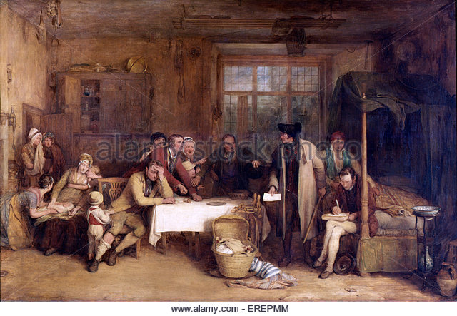 Distraining for Rent by Sir David Wilkie, 1815.Oil on panel,  81.30 x 123.00 cm. Showing bailiff demanding evication - Stock Image