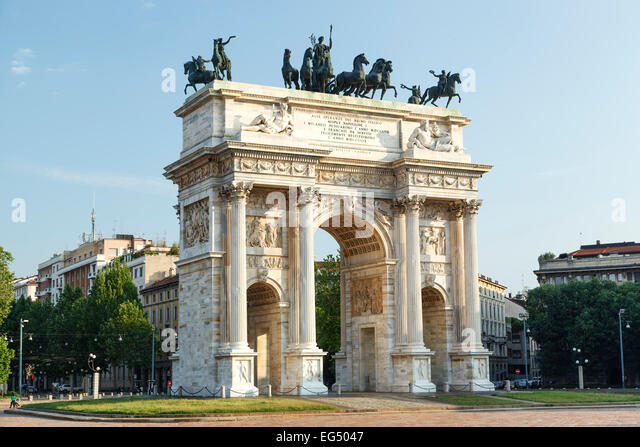 Arch of Peace, Sempione Square, Milan, Italy - Stock Image